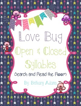 Love Bug Open and Closed Syllables Search and Read the Room Center