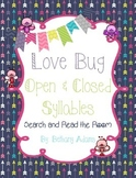 Love Bug Open and Closed Syllables Search and Read the Roo