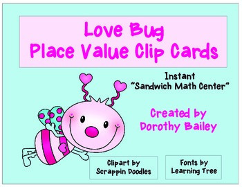 Love Bug Place Value Clip Cards