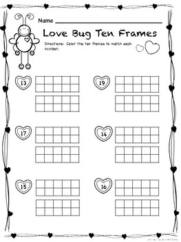 Valentine's Ten Frames / Teen Frames:  Love Bug Ten Frames (Teen Numbers)