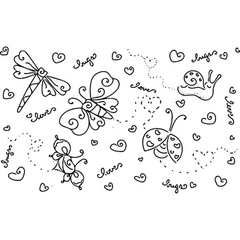 Love Bugs Coloring Page or Clip Art