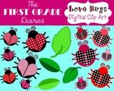 Love Bugs {Digital Clip Art} Valentine Ladybug Hearts Leaves