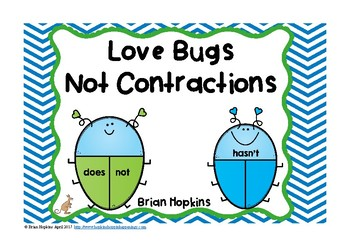 Love Bugs NOT Contractions Task Cards