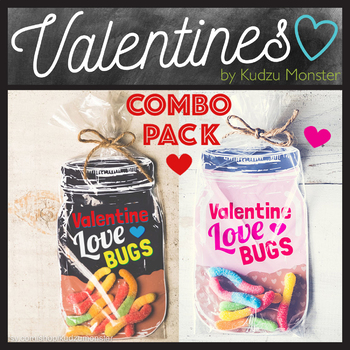 Love Bugs Valentine's Day Mason Jar Printable for Gummy Worms or Toy Bugs