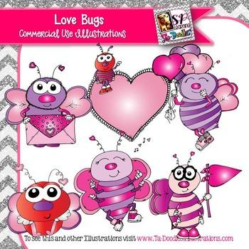 Love Bugs Valentine's Day clip art