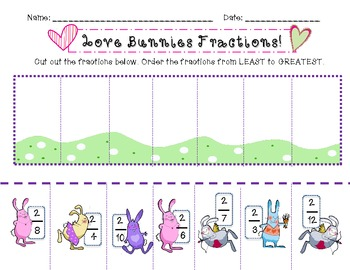 {Love Bunnies} Comparing and Ordering Fractions with Like Numerators 3.NF.3d