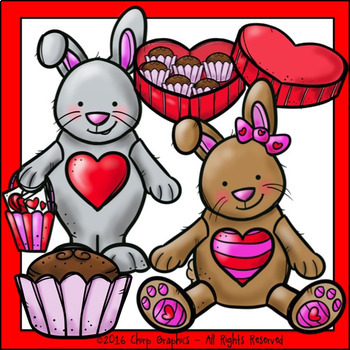Valentine's Day Bunny Clip Art - Chirp Graphics