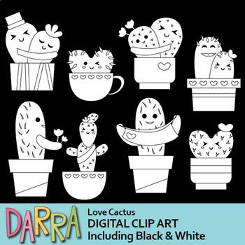 Love Cactus Clip Art, Valentine Cacti Clipart