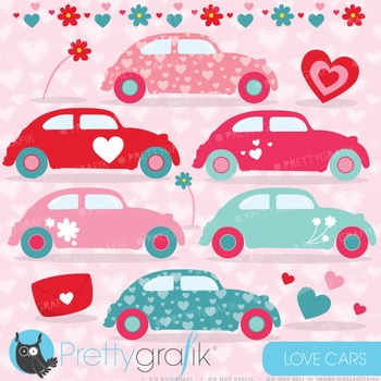 Love Cars clipart commercial use, vector graphics, digital clip art - CL635