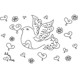 Love Dove Coloring Page or Clip Art