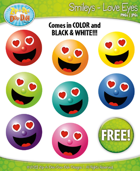 FREE Love Eyes Smiley Faces Emotions Clip Art Graphics