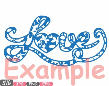 Love Flower word art clipart Heart floral Valentine monogram Family Svg -492