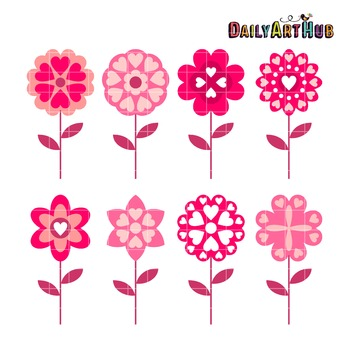 Love Flowers Clip Art - Great for Art Class Projects!