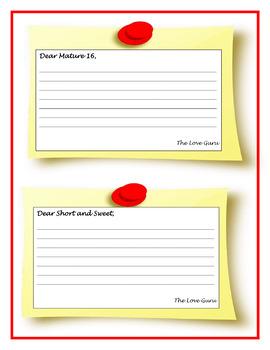 VALENTINE'S DAY - Dear Love Guru... Advice - No prep, print and go!
