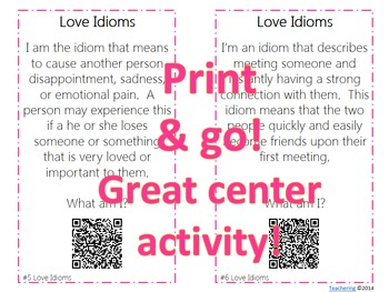 Idioms Task Cards with QR Codes {Love Themed}