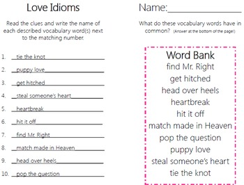 Love Idioms Task Cards with PHOTOS