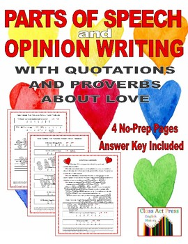 Valentine's Day Activities: Grammar and Writing Worksheets  (4 P., Ans. Key)