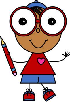 Love Kids with Pencils Clip Art