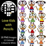 Love Kids with Pencils Clip Art