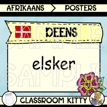 Love : Language Posters with Flags : Afrikaans