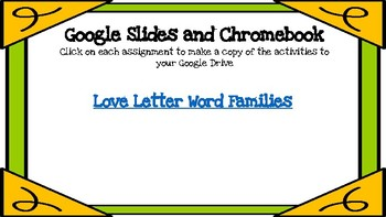 Love Letter Word Families-A Digital Literacy Center (Google Apps)