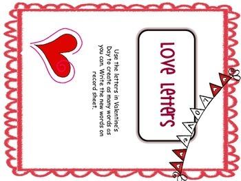 Love Letters Build Words Center