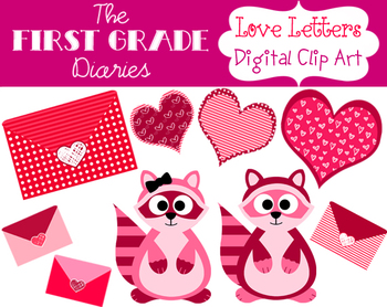 Love Letters {Digital Clip Art} Valentines Day Hearts Raccoons