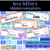 Love Letters Watercolor Editable Nameplates