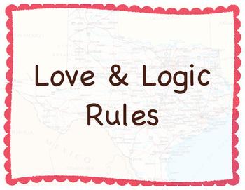 Love & Logic Rule Posters Texas History Theme