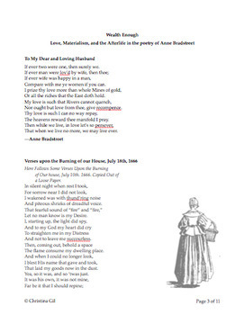 Anne Bradstreet Poetry Lesson on the Puritan World View