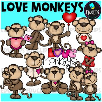 Love Monkeys Clip Art Bundle {Educlips Clipart}