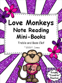 Valentine's Day Music: Love Monkeys Note Reading Mini-Books Treble and Bass Clef