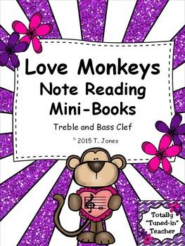 Love Monkeys Note Reading Mini-Books - Treble and Bass Clef