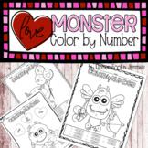 Love Monster Color by Number Coloring Sheets - Kindergarten Math