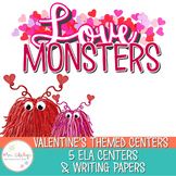 Valentine Writing Paper and Centers: 1st & 2nd Grade ELA