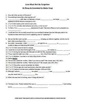 Love Must Not Be Forgotten by Zhang Jie Complete Guided Reading Worksheet