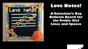 Love Notes: A Valentine's Themed Music Bulletin Board Treble Clef Lines Spaces