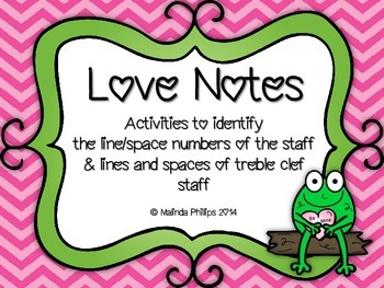 Love Notes:Treble Clef Staff Line/Space Numbers and Notes