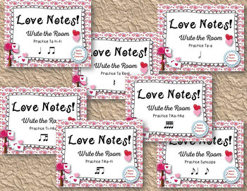 Love Notes BUNDLE!  Write-the-Room Rhythm Activity - 7 GAMES for Valentine's Day