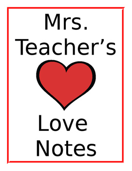 Love Notes Binder Cover Editable