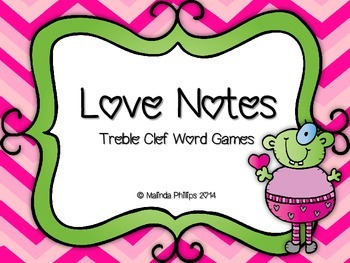Love Notes: Treble Clef Staff Word Cards Activities