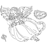 Love One Another Angel with Heart Coloring Page or Clip Art