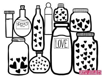 Love Potions Digital Clip Art- Black Line Version