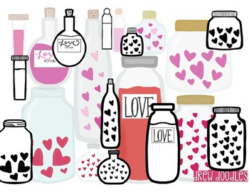 Love Potions Digital Clip Art Set- Black Line and Color COMBO