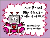 Love Robot Clip Cards - 3 addend addition