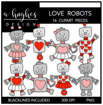 Love Robots Clipart {A Hughes Design}