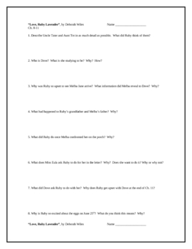 """""""Love, Ruby Lavender"""", by D. Wiles, Comprehension Questions"""