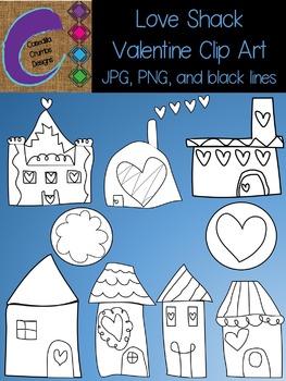 Love Shack Valentine Clip Art Set Black Lines