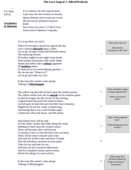 Love Song of J. Alfred Prufrock- full text and analytical questions