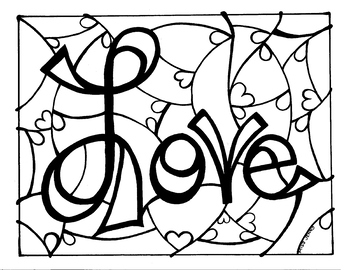 Love Stained Glass Style Coloring Page    Summer Fun coloring